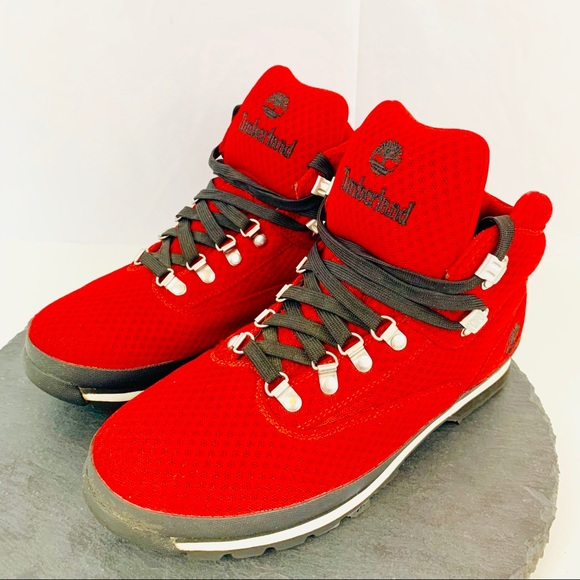 01858e20344 Timberland red mesh Euro hiking boots size 10.5